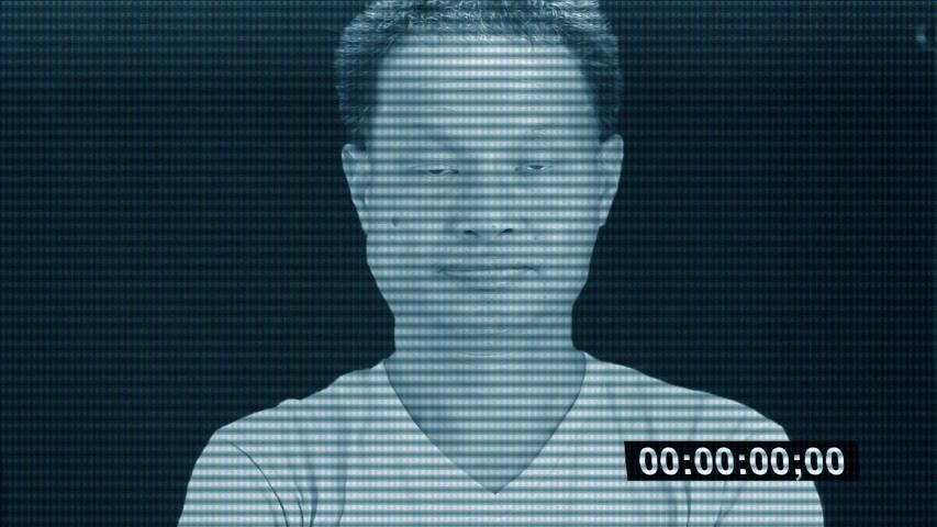 Portrait of Thai man  in television simulation screen, Chiangmai Thailand   Shutterstock HD Video #1032363581