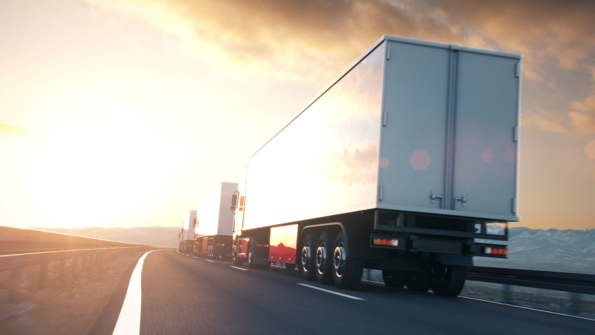 POV shot overtaking a convoy of semi trucks driving on a highway into the sunset. Fast and dynamic camera. Realistic high quality 3d animation.