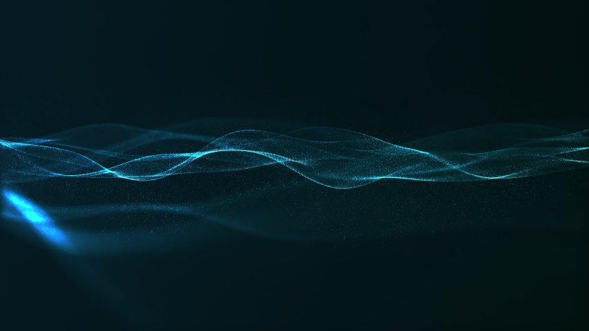 Abstract digital blue color wave with flowing small particles dance motion on wave and light abstract background. Cyber or technology background. | Shutterstock HD Video #1032366341