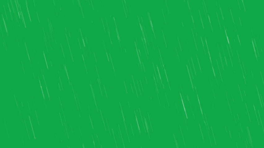 Rain animation on a green screen.