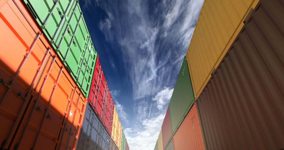 Cargo shipping container stacks under cloudscape. Industrial containers are excellent for cargo import export shipment. Camera seamlessly moves thru cargo boxes of different transportation companies | Shutterstock HD Video #1032391073