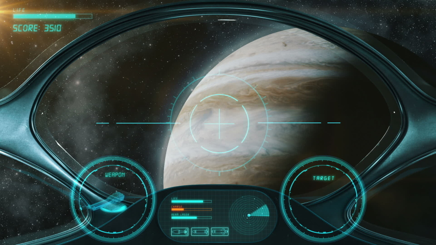 Space Shooter 3D Video Game imitation. The Spacecraft In Space Destroys The Enemy Crew With A Laser Gun. Planet Jupiter And Stars On The Background. | Shutterstock HD Video #1032414143
