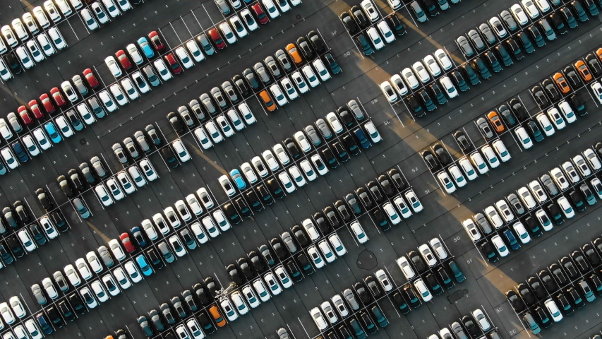 Aerial view of the parked new cars at the automotive plant | Shutterstock HD Video #1032422408
