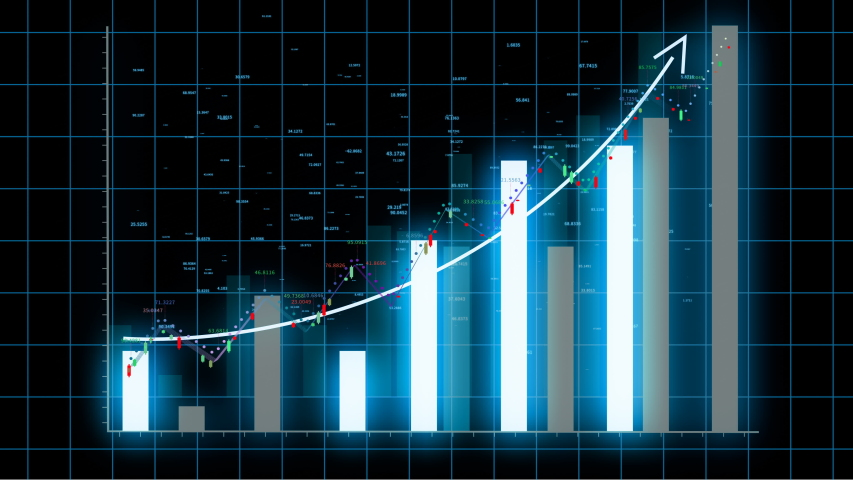 HUD graph with rising up arrow and bar stats,Financial data and diagrams showing a steady increase in profits,growing charts and flowing counters of numbers,Business digital trend.  | Shutterstock HD Video #1032439493