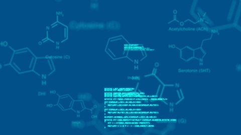Digital animation of molecular structures and interface codes. The background is blue.