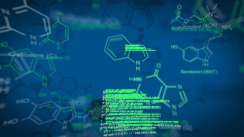 Digital animation of interface codes moving across the screen. The background is blue with molecular structures