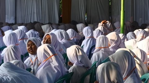 the prospective female students of Gontor Putri Islamic Boarding School who are waiting for the announcement to be accepted or rejected, Ngawi, east Java, Indonesia, June 22, 2019