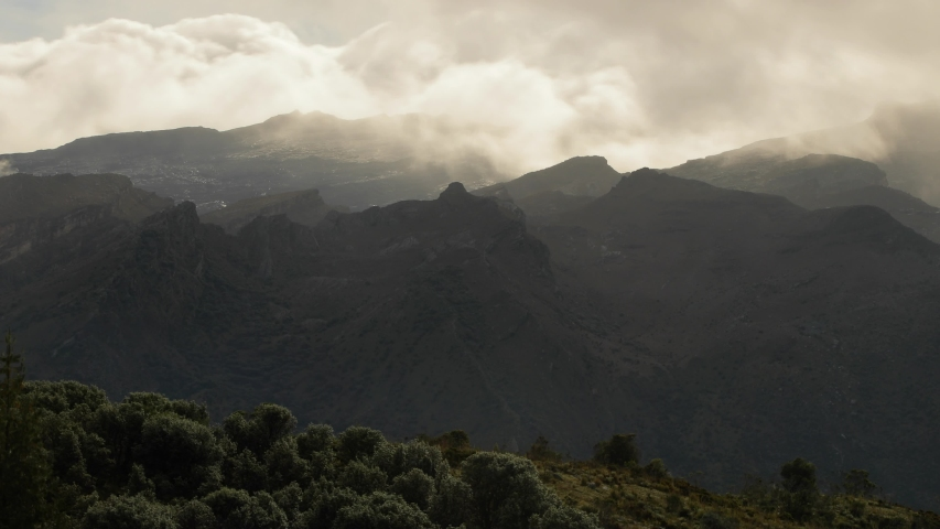 Mountain landscape timelapse moving clouds in Colombia, Sierra Neveda del Cocuy