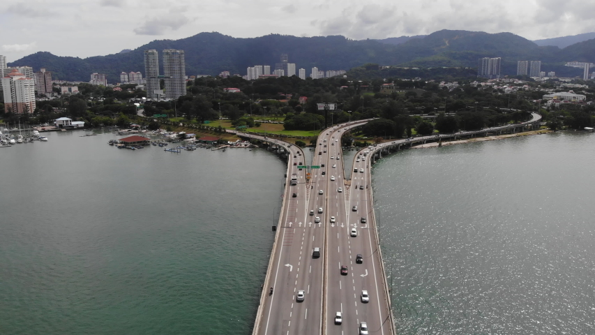 Aerial view of the first Penang Bridge. The bridge connects Prai on the mainland side of the state with Gelugor on the island, crossing the Penang Strait.