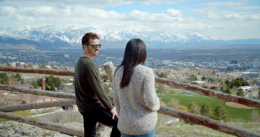 Close Up, Couple Above Salt Lake City, Utah Mountains | Shutterstock HD Video #1032481655