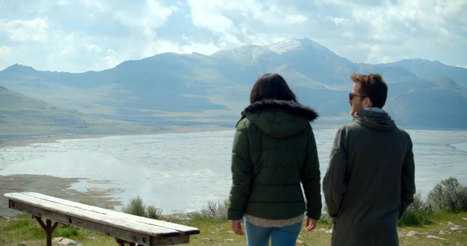 Couple Hiking on Antelope Island, Utah, View of the Great Salt Lake | Shutterstock HD Video #1032481841