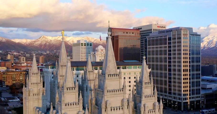 Salt Lake City, Utah / USA - April 15, 2019: Mormon Latter-Day Saints Temple at Sunset, Salt Lake City by Drone