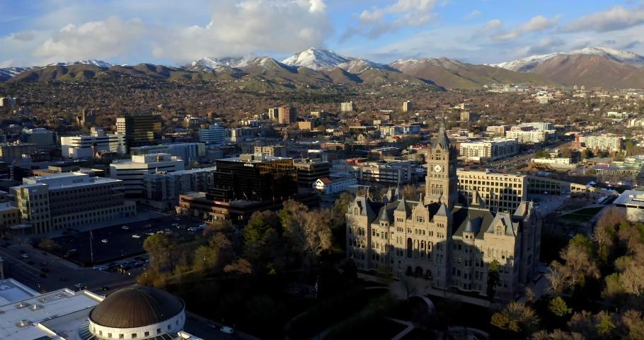 Salt Lake City, Utah / USA - April 15, 2019: Aerial Drone View of Salt Lake City Skyline & Cathedral, Church