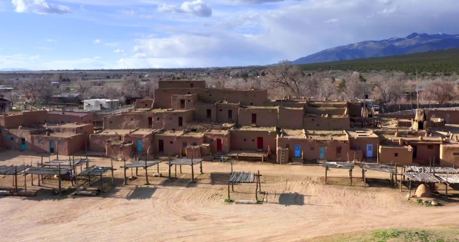Taos Pueblo, New Mexico / USA - April 11, 2019: Taos Pueblo New Mexico by Aerial Drone, Native American Town & Landmark