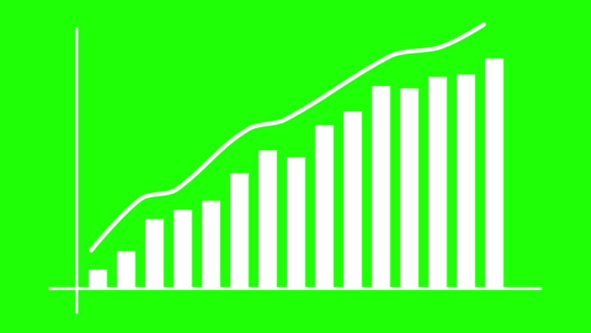 Growth graph on green screen background. Economic progress chart. Bars infographic.Statistics and data analysis.Profit concept.Analysis graph for investment, currency,money or companies. 4K animation  Royalty-Free Stock Footage #1032495239