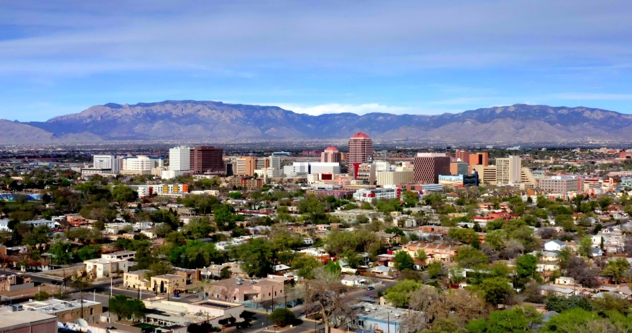 Albuquerque, New Mexico Skyline Aerial View From Balloon