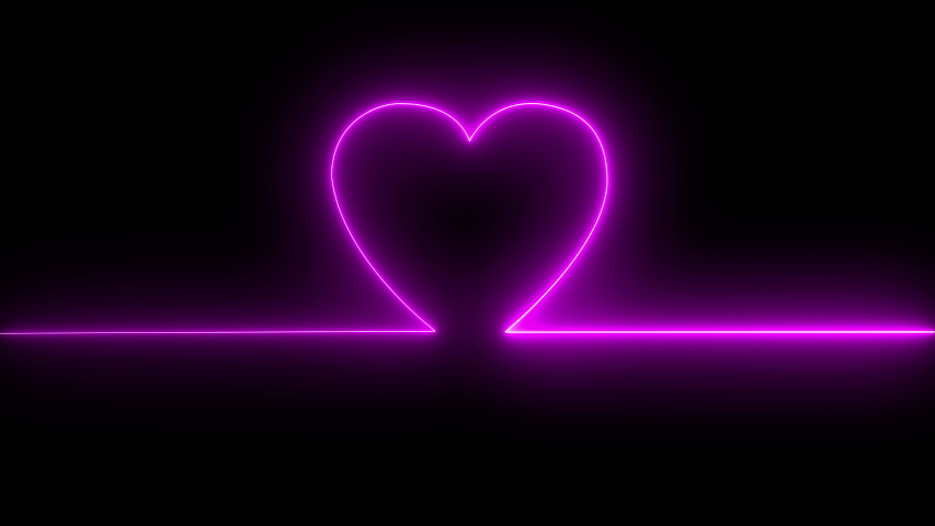 Neon Symbol Design Sign Colorful Abstract Background Heart Beat Line. Neon Light Heartbeat Display Screen Medical Research