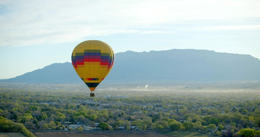 Hot Air Balloon Taking Off From Field, Aerial Drone   Shutterstock HD Video #1032497258