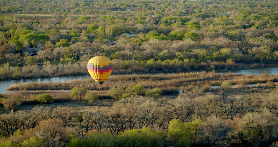 Hot Air Balloons Above Albuquerque, New Mexico at Sunset   Shutterstock HD Video #1032497315