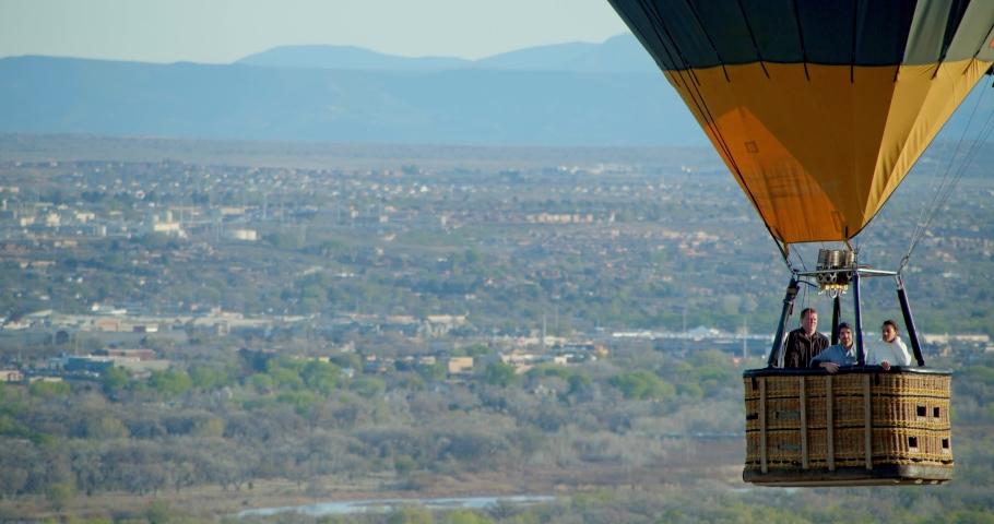 Hot Air Balloon Above Albuquerque, New Mexico Desert by Aerial Drone