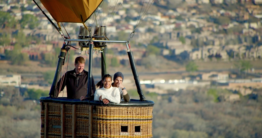 People in Flying Hot Air Balloon Ride, Close Up in Sky