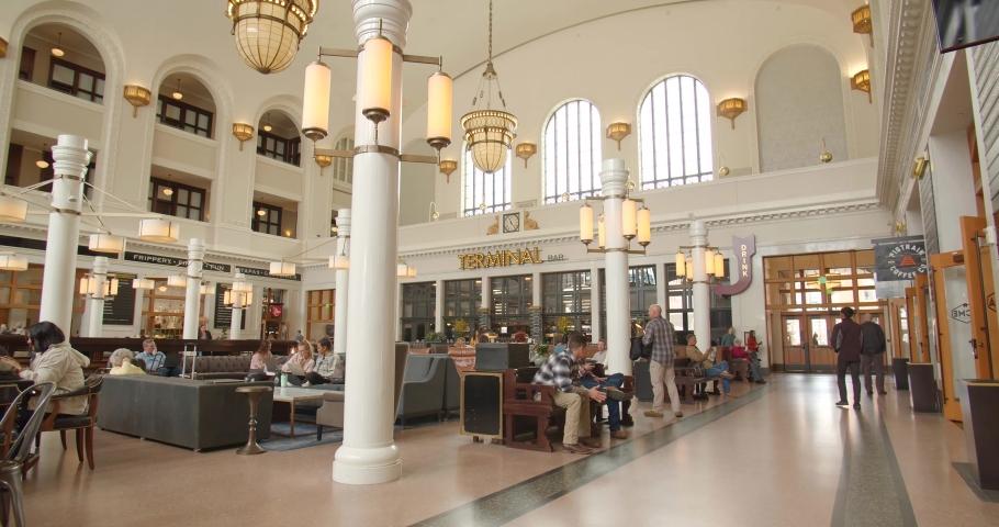Denver, Colorado / USA - April 11 2019: Terminal Bar Inside Union Station, Denver Colorado Tourism & Shopping   Shutterstock HD Video #1032507425