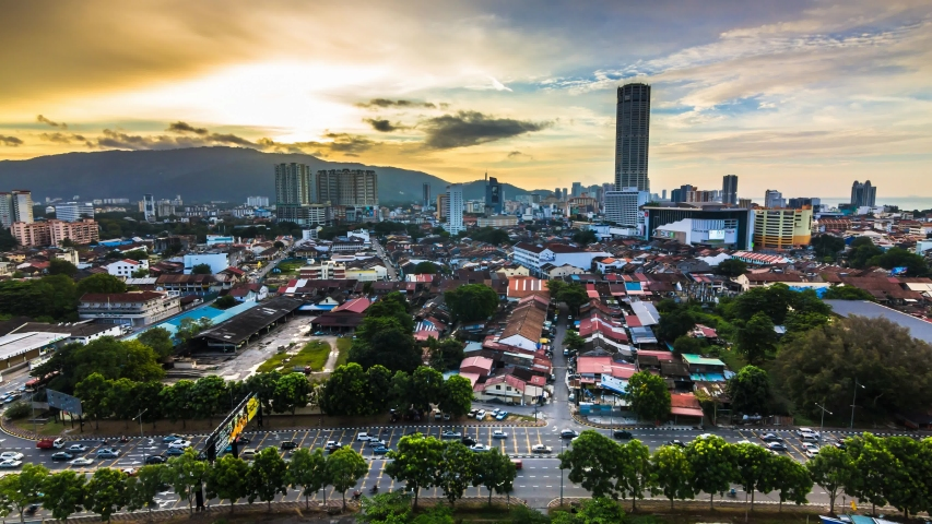 4K Time Lapse view in George Town, Penang during sunset