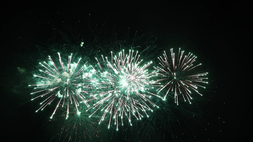 Real Fireworks footage 4k video on Deep Black Background Sky on Futuristic Fireworks festival show before independence day on 4 of July #1032511682
