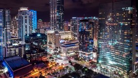 Best Miami Aerial shot. Beautiful Hyperlapse timelapse of night Miami city traffic. Drone panorama view flight over Miami at night. Miami downtown in 4K UHD  aerial view.