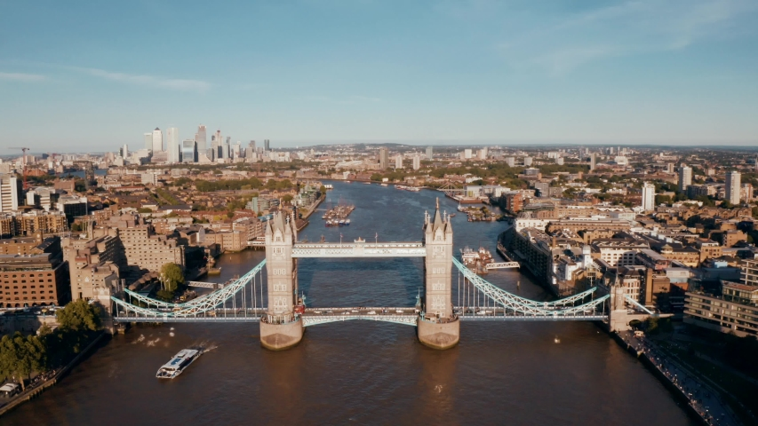 Establishing Aerial View of Tower Bridge, Shard, London Skyline, London, United Kingdom | Shutterstock HD Video #1032556076
