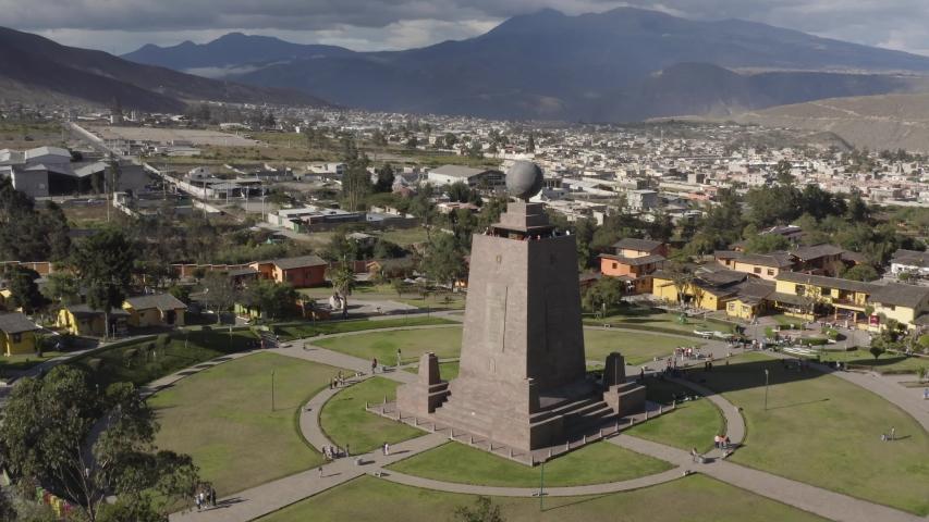 QUITO - SAN ANTONIO, ECUADOR - MAY 5, 2019: Equator line monument, Ciudad Mitad Del Mundo, Ecuador, aerial drone footage