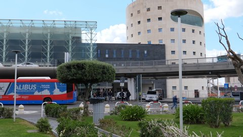 CATANIA, SICILY, ITALY - APRIL, 2019: Park in front of Catania airport pan