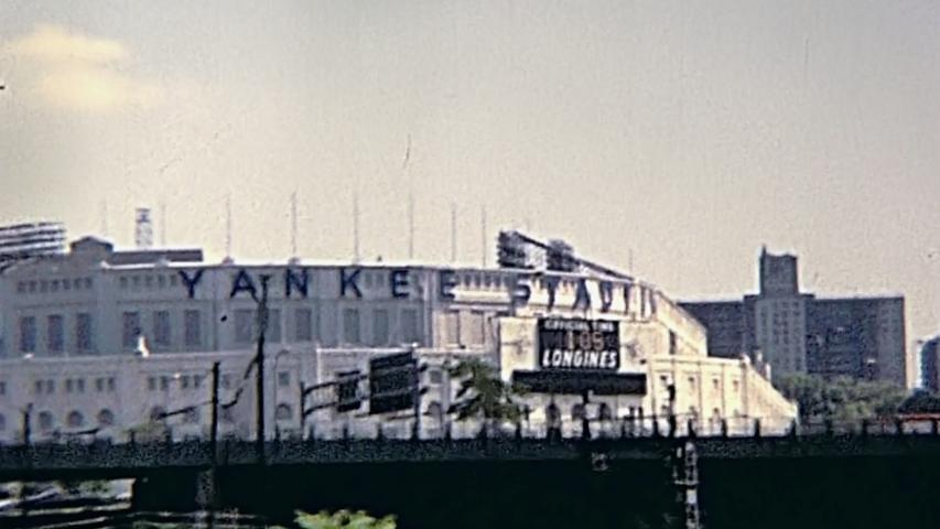 New York, United States of America - circa 1970: vintage old skyline on seventy, panorama of Yankee Stadium.