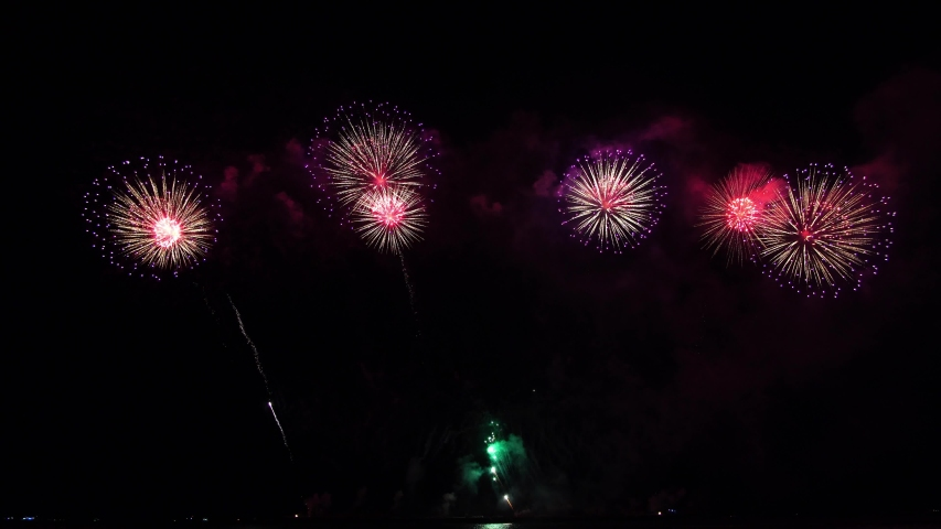 Colorful fireworks display night background   Shutterstock HD Video #1032605510