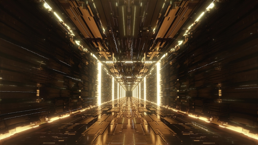 Loop gold Digital futuristic neon tunnel | Shutterstock HD Video #1032607424