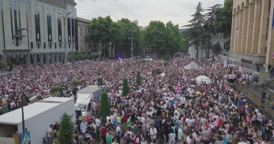 Manifestation in Georgia against Russian diplomats and ideology in 20 June 2019. The appearance of a Russian Duma MP in the Georgian Parliamentary chair seat has triggered protests across Georgia