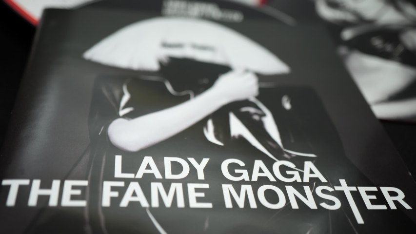 Rome, Italy - June 28, 2019:Detail of CD covers and inserts by the American singer LADY GAGA. Many call it one of the best pop performers of the 21st century