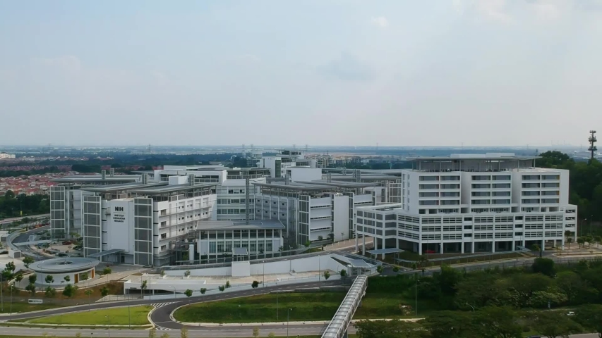 """Klang, Malaysia- Circa July, 2019: Aerial footage of Institute for Medical Research, National Institute of Health Malaysia during evening."""
