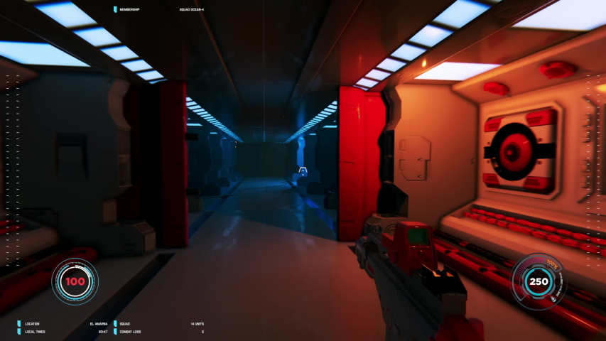 3D mock-up of loopable first person shooter in space. Futuristic space and battle. Videogame gaming