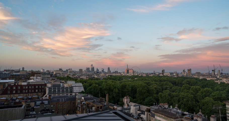 London city skyline day to night time lapse sunset view from Park Lane