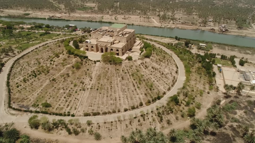 Drone shot of the ancient city of Babylon in Iraq