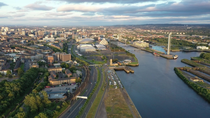 Scotland Glasgow drone river cityscape | Shutterstock HD Video #1032768911