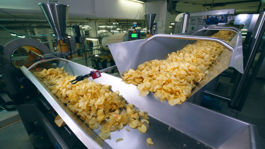 Plant equipment moves fried chips on a line, sorting them. | Shutterstock HD Video #1032769238