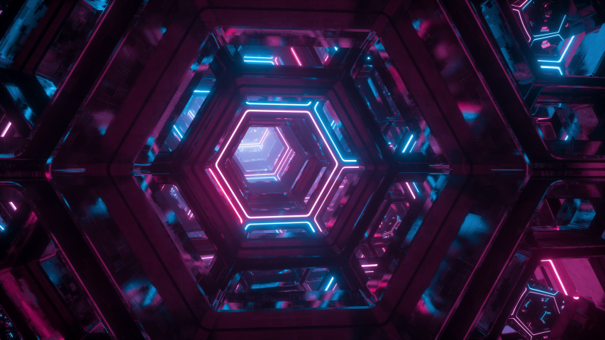 Flying through endless futuristic sci fi tunnel. Luminous neon glowing hexagons. Hyper jump into another galaxy. Abstract creative digital background. Modern colorful illumination. Seamless loop | Shutterstock HD Video #1032770012