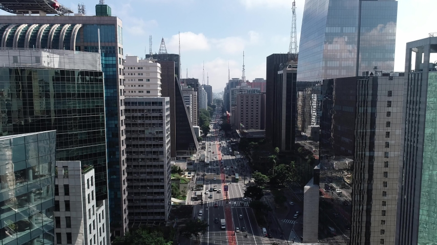 São Paulo, Sao Paulo / Brazil - Circa May 2019: Aerial image made with drone on Avenida Paulista, commercial center of the city of São Paulo.