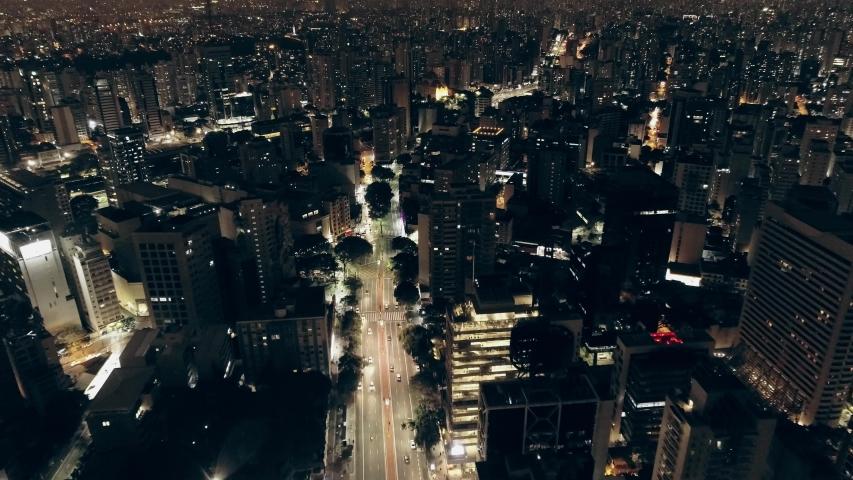 São Paulo, Sao Paulo / Brazil - Circa May 2019: Night aerial image made with drone on Avenida Paulista, commercial center of the city of São Paulo, Brazil. | Shutterstock HD Video #1032799709