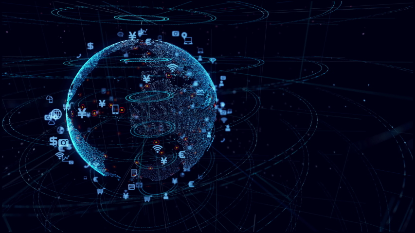 Global communication network concept. Planet earth in cyberspace.  #1032800090