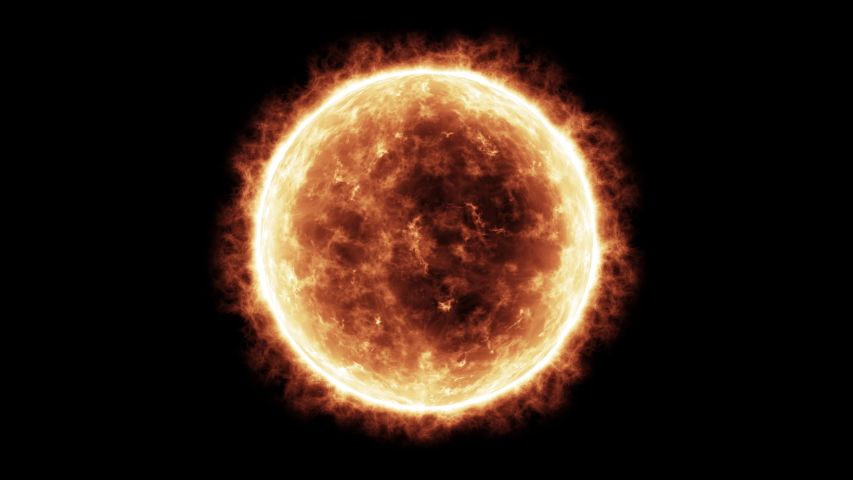 4k Sun Solar Atmosphere isolated on black background. 3D Render