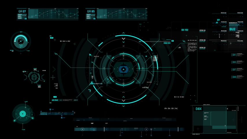 Circle hud head up display interface target pointer element for futuristic cyber technology concept with dark and grain processed Royalty-Free Stock Footage #1032811178