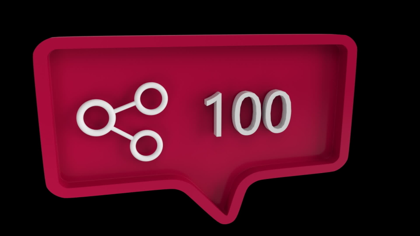 Digital animation of a connect icon with increasing count in a red message bubble. The background is black. The connect icon is from social media | Shutterstock HD Video #1032812081